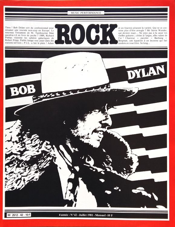 rock #42 france magazine Bob Dylan cover story
