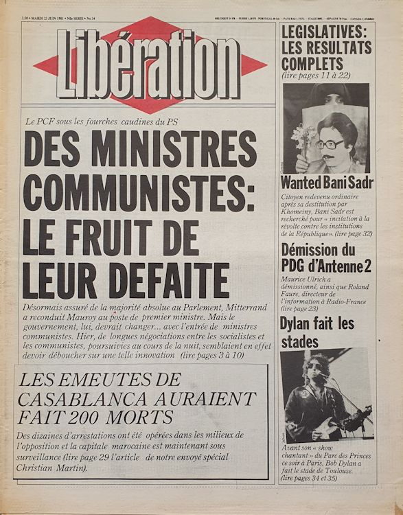liberation french newspaper 1981 06 23 Bob Dylan cover story