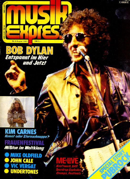 musik express 8 August 1981 magazine Bob Dylan cover story