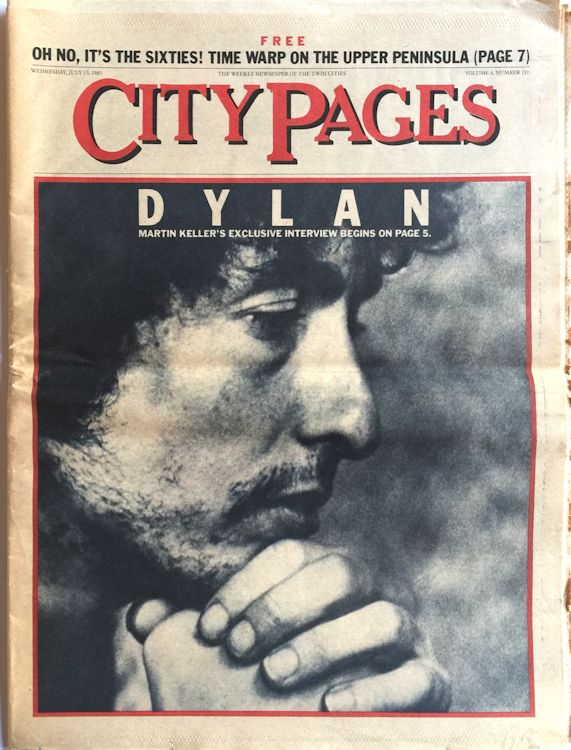 city pages magazine Bob Dylan cover story