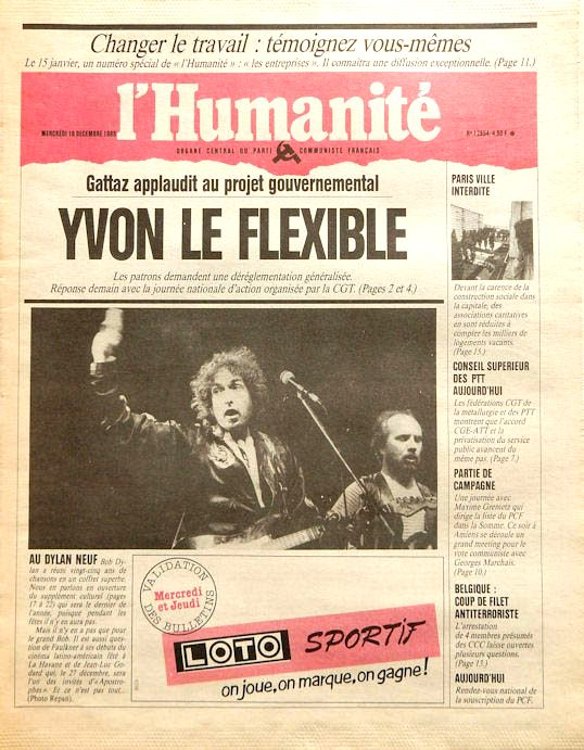 l'humanité 1985 magazine Bob Dylan cover story