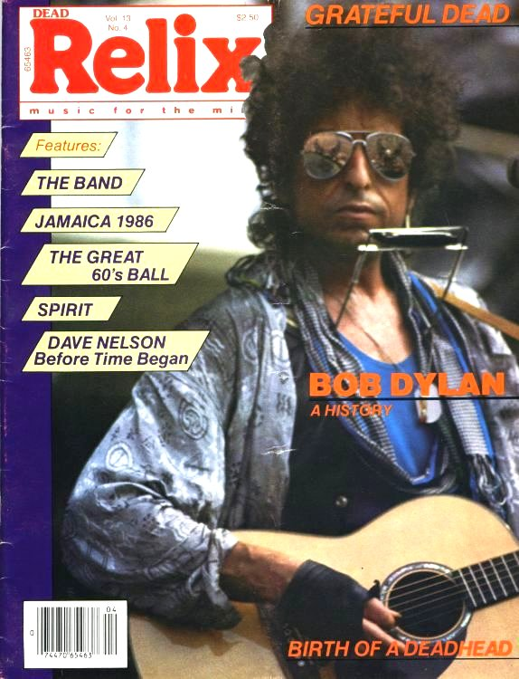 relix August 1986 magazine Bob Dylan cover story