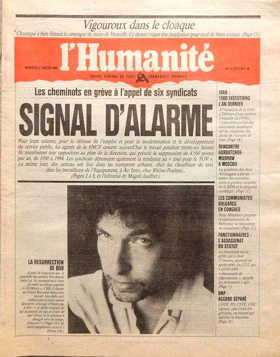 l'humanité 1990 magazine Bob Dylan cover story