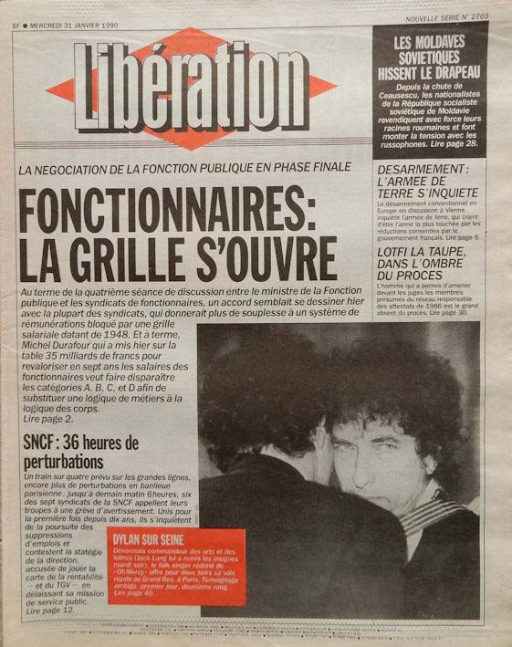 liberation french newspaper 1990 01 31 Bob Dylan cover story