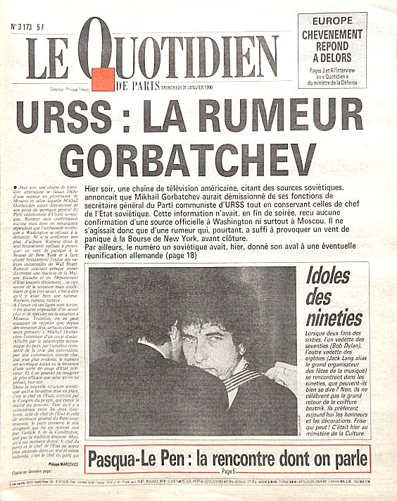 le quotidien de paris Bob Dylan cover story