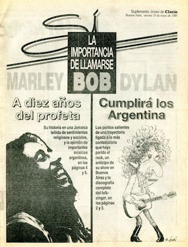 clarin argentina si 10 May 1991 supplement Bob Dylan cover story