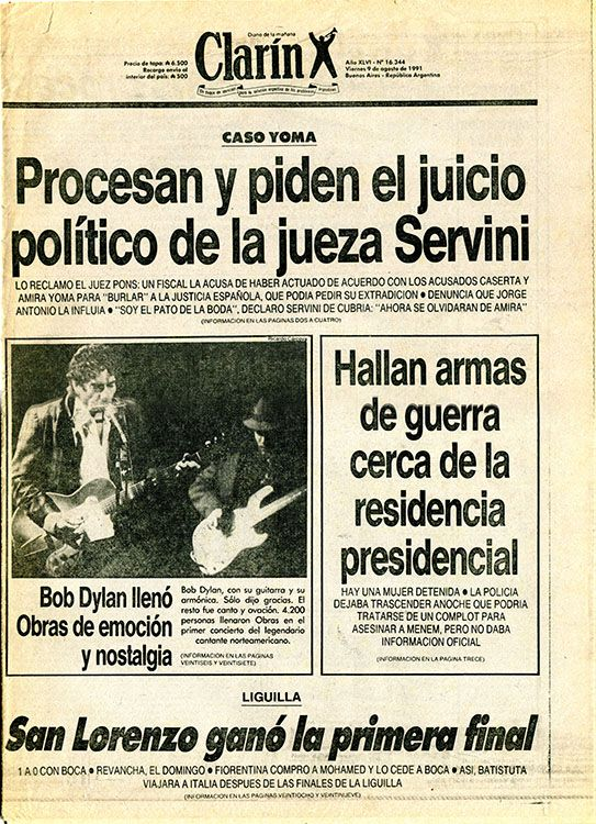clarin argentina 9 August 1991 Bob Dylan cover story