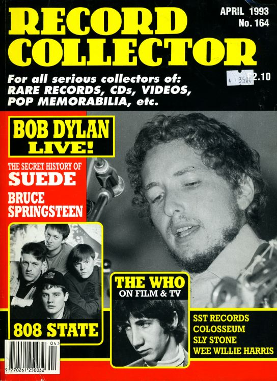 record collector magazine #164 uk Bob Dylan cover story
