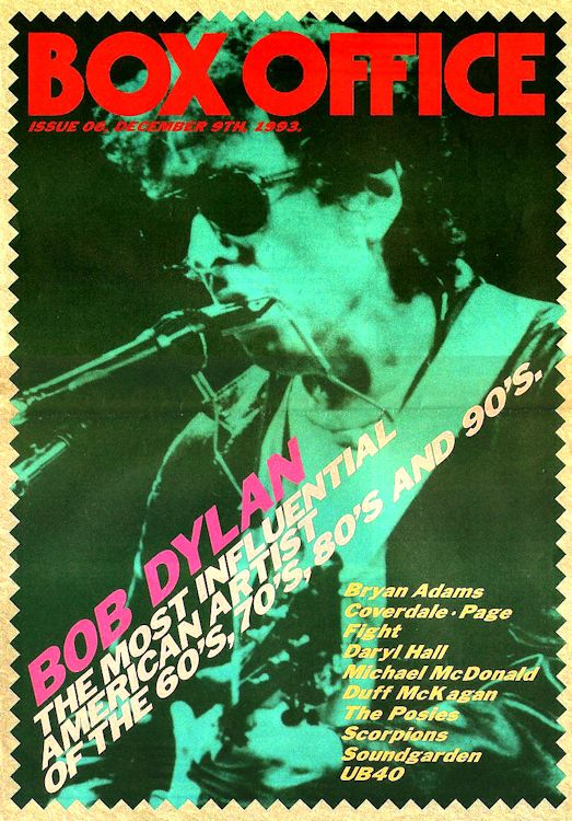 box office magazine 1993 Bob Dylan cover story