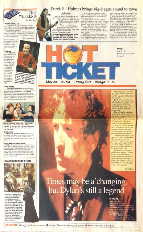 hot ticket magazine Bob Dylan cover story