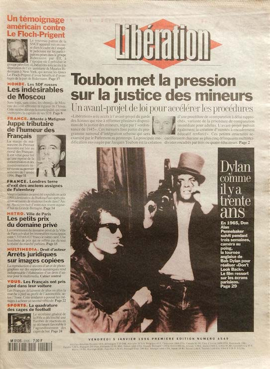 liberation french newspaper 1996 05 01Bob Dylan cover story