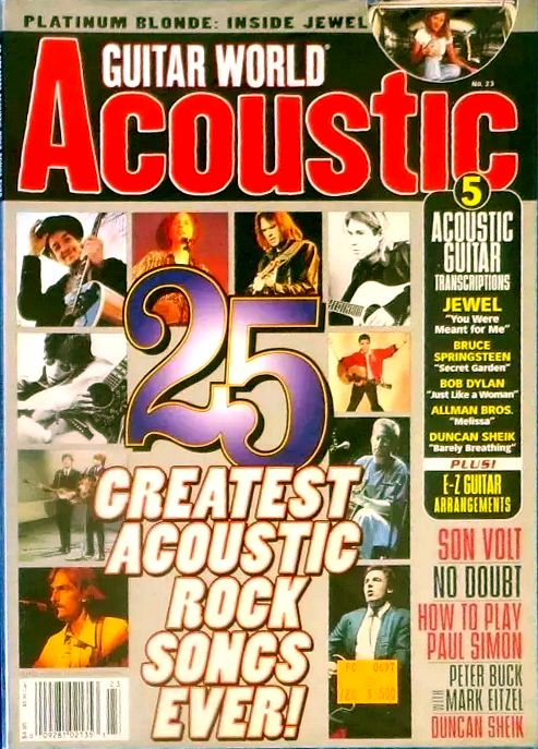 guitar world acoustic magazine 1997 Bob Dylan cover story