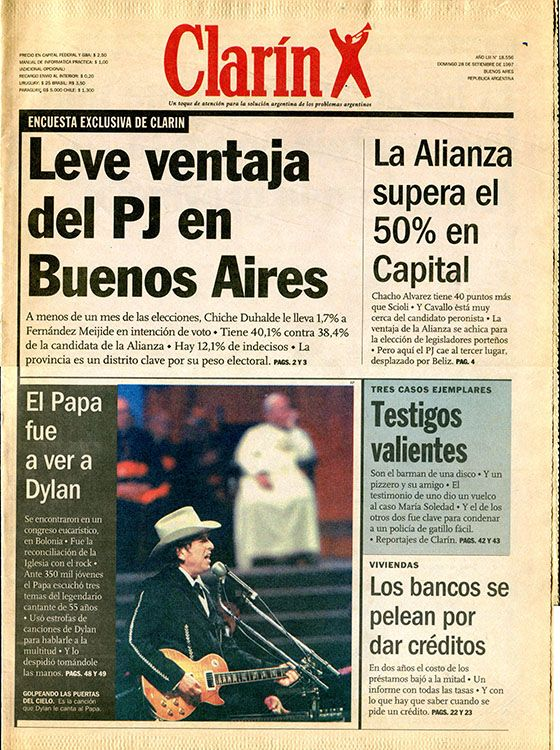 clarin argentina 28 September 1997 Bob Dylan cover story