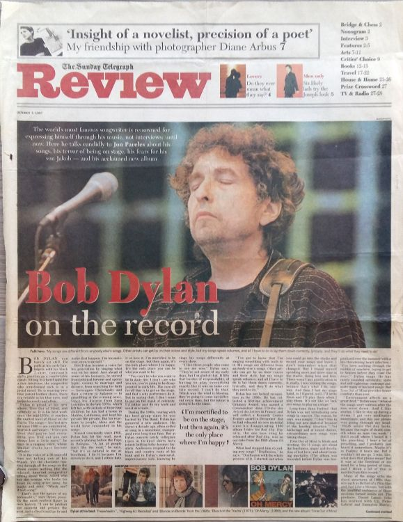 the sunday telegraph review 1997 Bob Dylan cover story