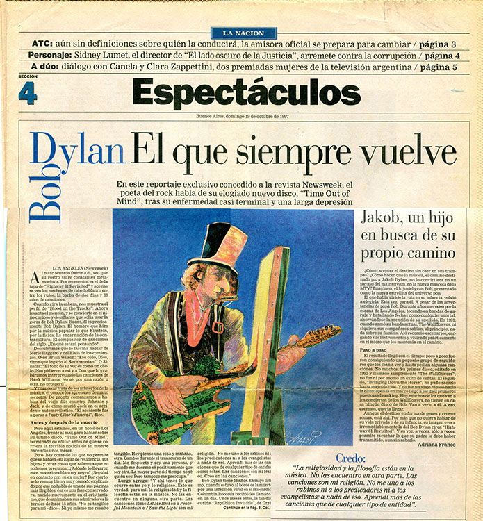 espectaculos la nacion 19 October 1997 magazine Bob Dylan cover story
