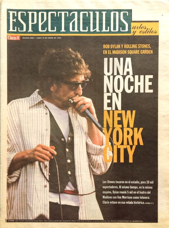 clarin argentina espectaculos 13 Jan1998supplement Bob Dylan cover story