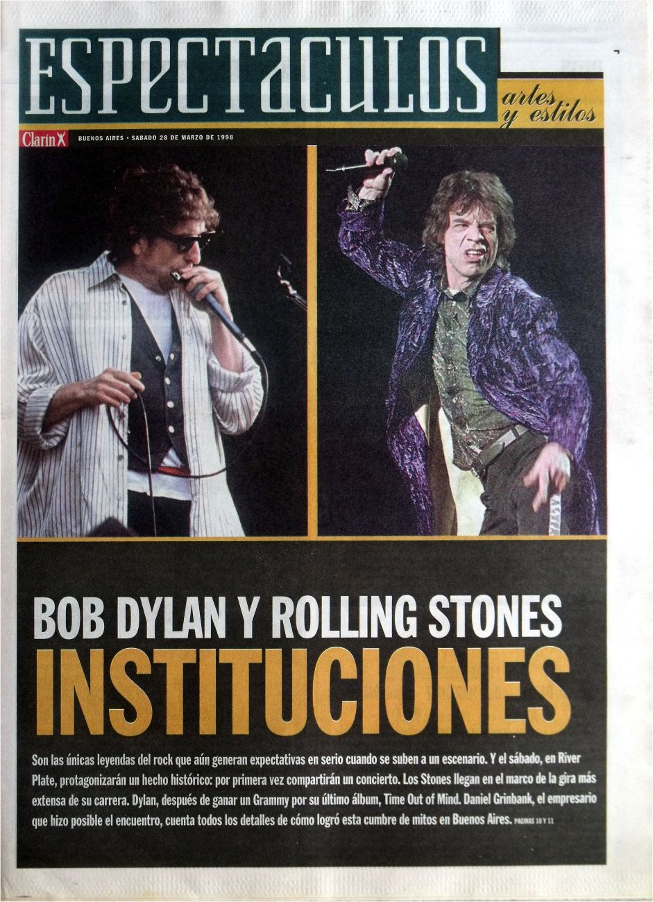 clarin argentina espectaculos 28 March 1998 supplement Bob Dylan cover story