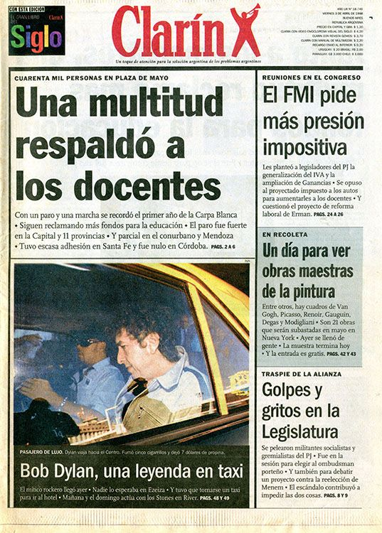 clarin argentina 3 April 1998 Bob Dylan cover story