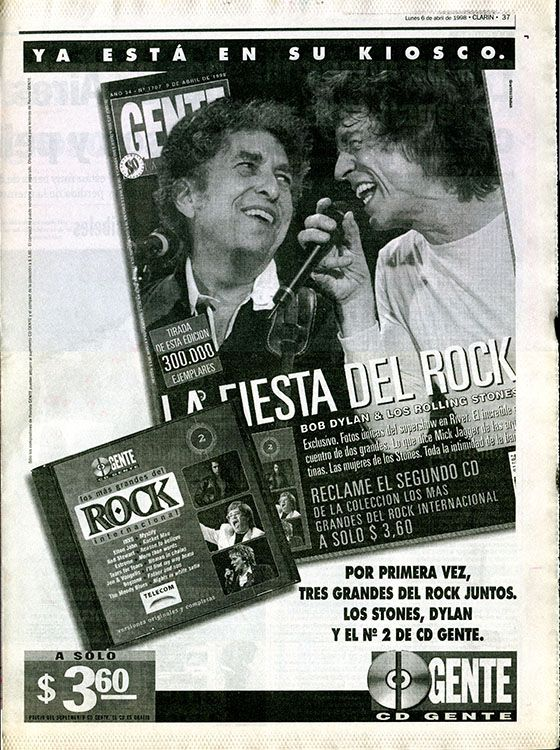 clarin argentina adv Bob Dylan cover story