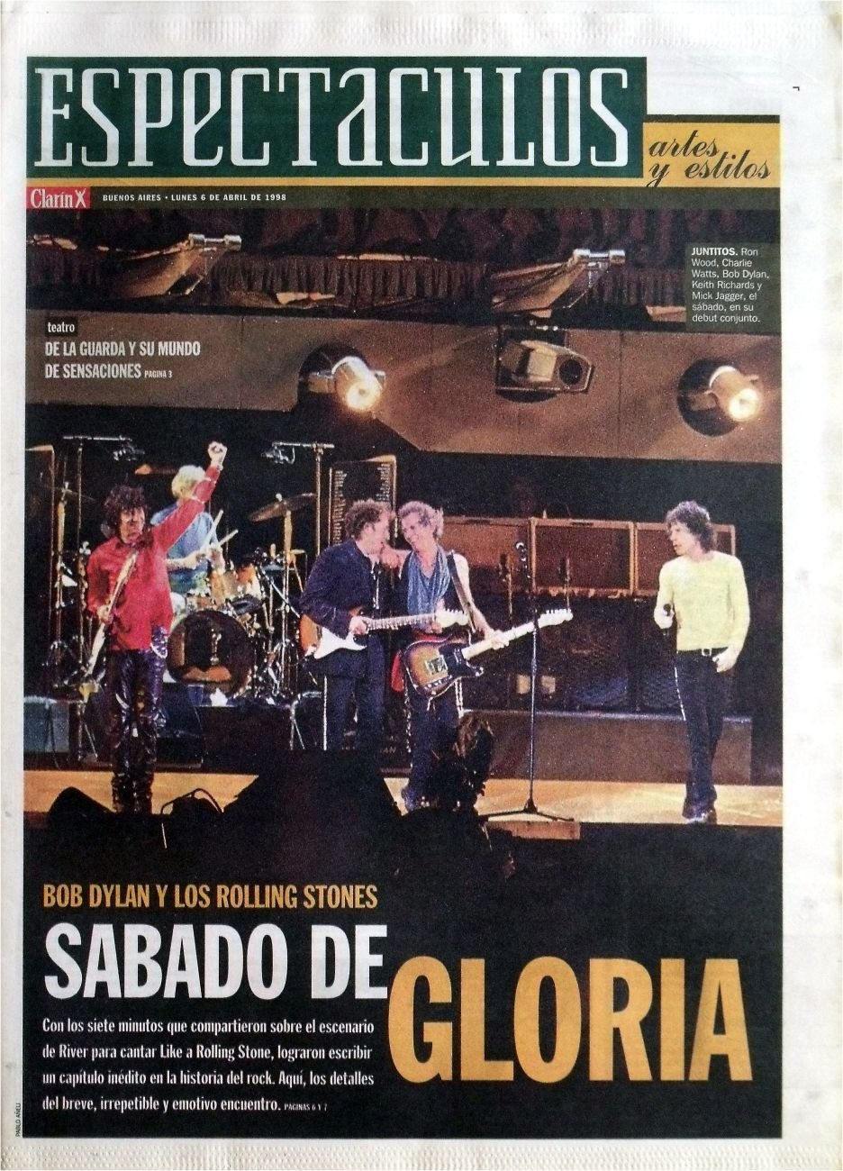 clarin argentina espectaculos 6 April 1998 supplement Bob Dylan cover story