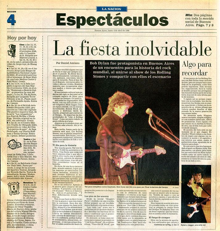 claris la nacion 6 April 1998 magazine Bob Dylan cover story