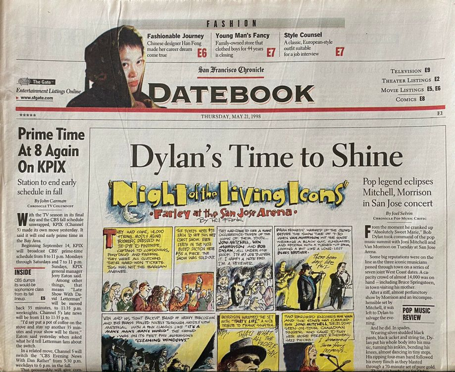 datebook san francisco chronicle 21 may 1998 Bob Dylan cover story
