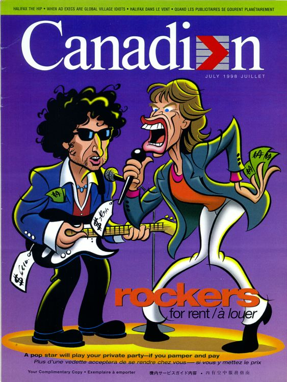 canadian airlines magazine Bob Dylan cover story