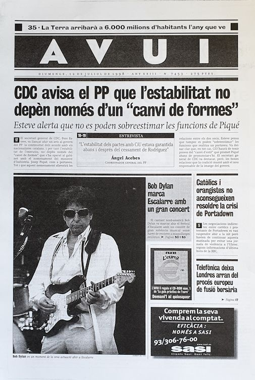 Avui 12 July 1998 Bob Dylan cover story
