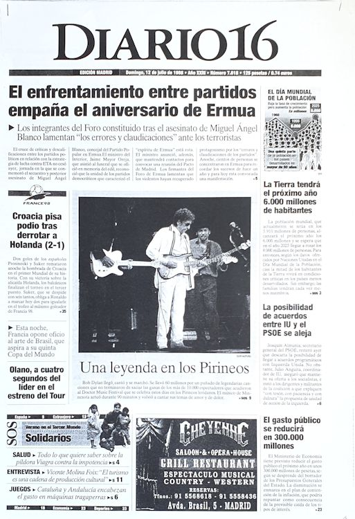 Diario 16 12 July 1998 Bob Dylan cover story
