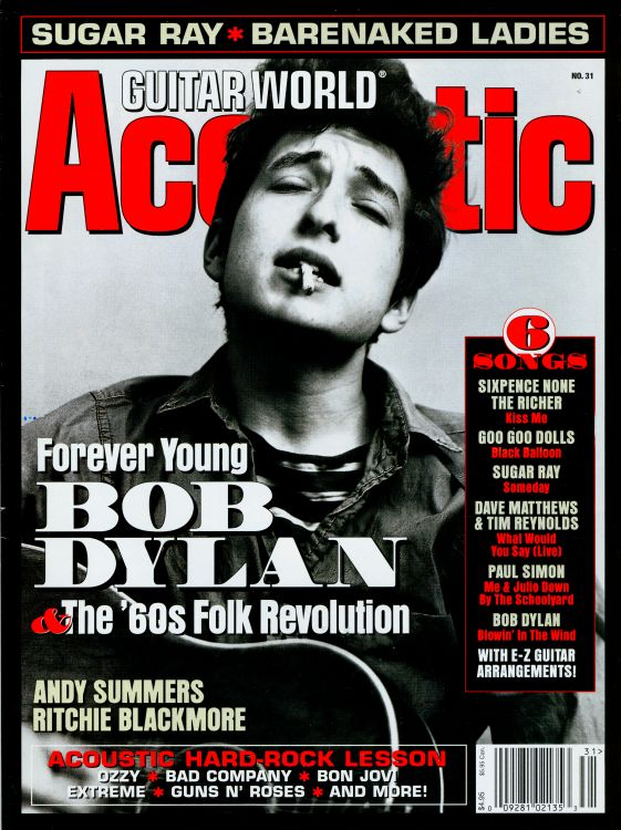 guitar world acoustic magazine 1999 Bob Dylan cover story