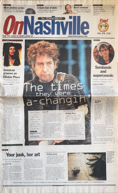 On nashville The Tennessean 1999 Bob Dylan cover story