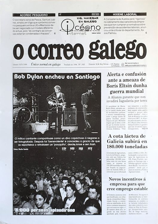 O Correo Gallego 10 April 1999 Bob Dylan cover story