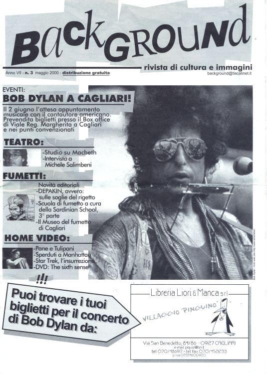 back bround italy magazine Bob Dylan cover story