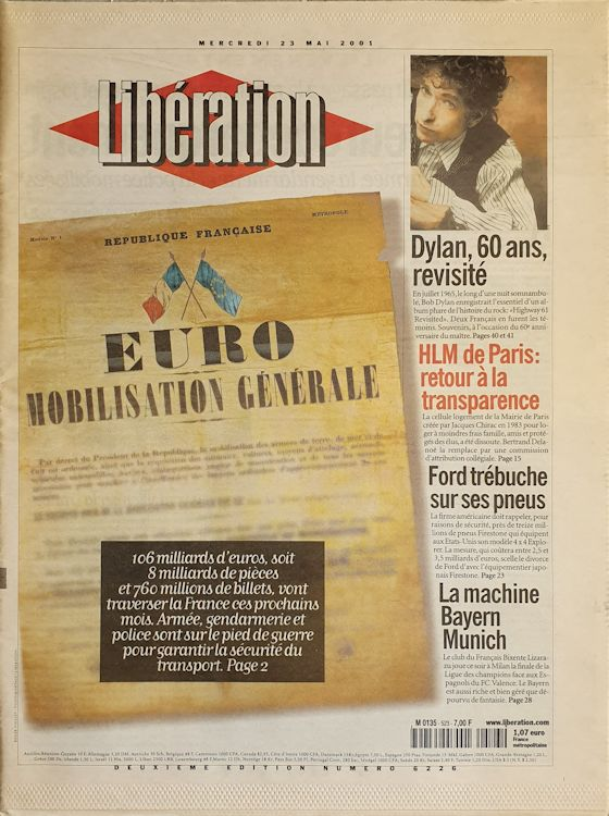 liberation 2001 05 23 french newspaper Bob Dylan cover story