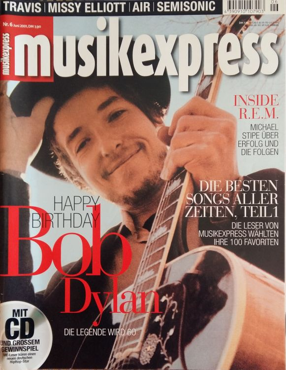 musik express june 2001 magazine Bob Dylan cover story