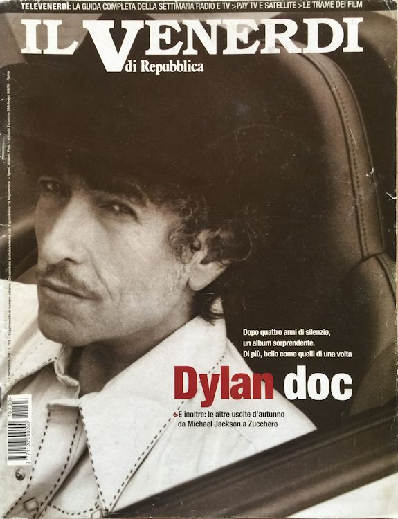 venerdi supplement to the newspaper REPUBBLICA Bob Dylan cover story