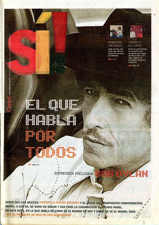 clarin argentina si supplement September 2001 Bob Dylan cover story