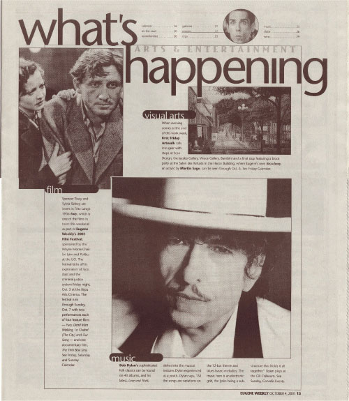 what's happening eugene or magazine Bob Dylan cover story