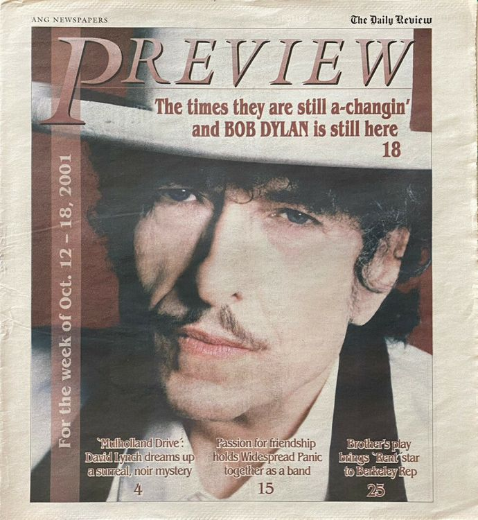 Preview 12 oct 2001 Bob Dylan cover story