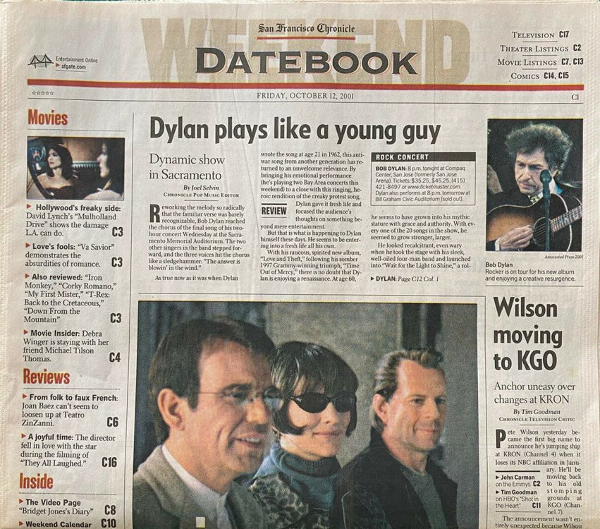 datebook san francisco chronicle 12 oct 2001 Bob Dylan cover story