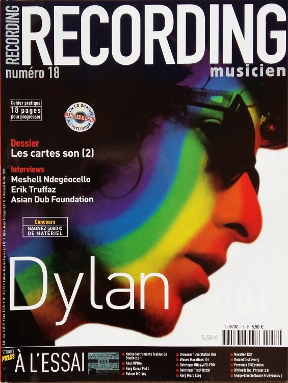 recording musicien #18 magazine Bob Dylan cover story