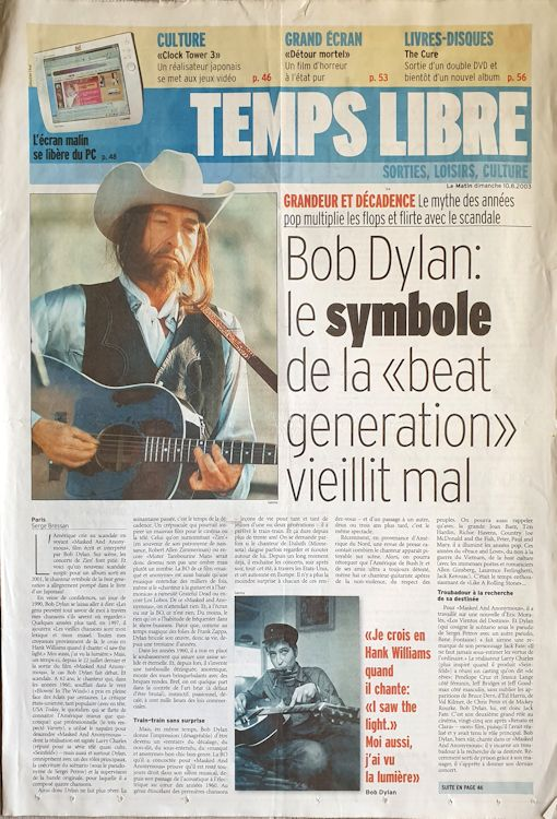temps libre magazine Bob Dylan cover story