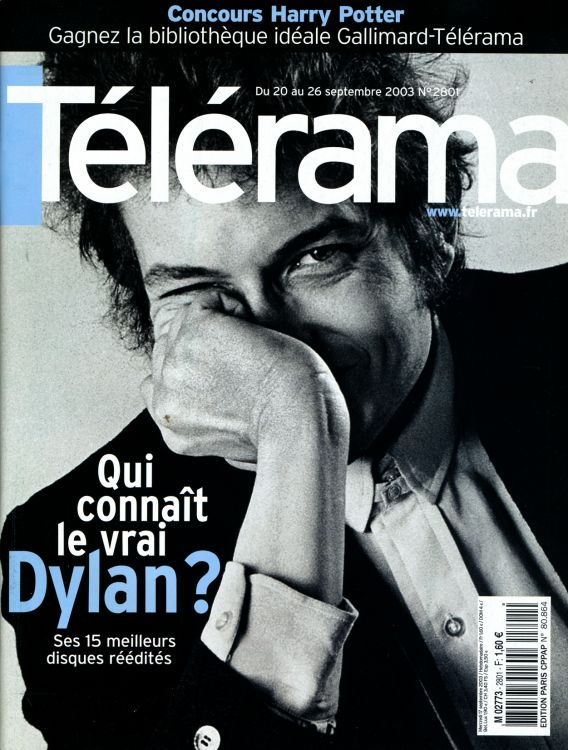 telerama magazine 20 September 2003 france Bob Dylan cover story