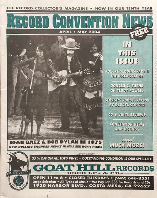 record colnvention news usa may june 2004 2009 magazine Bob Dylan cover story