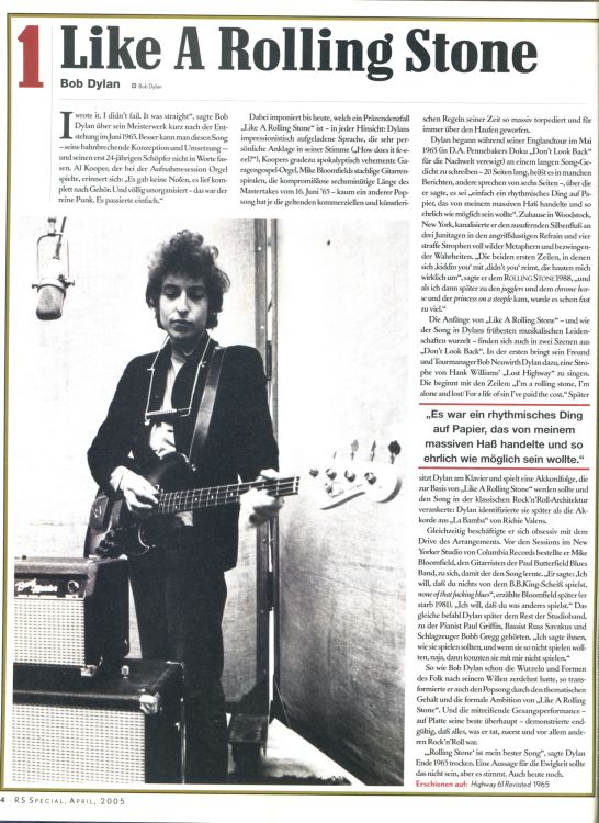 rolling stone magazine germany #4 winner Bob Dylan cover story