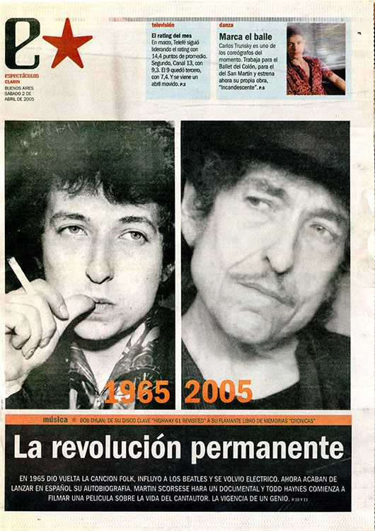 clarin argentina estrella 2 April 2005 supplement Bob Dylan cover story