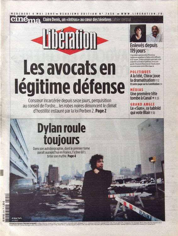 liberation 2005 05 04 french newspaper Bob Dylan cover story