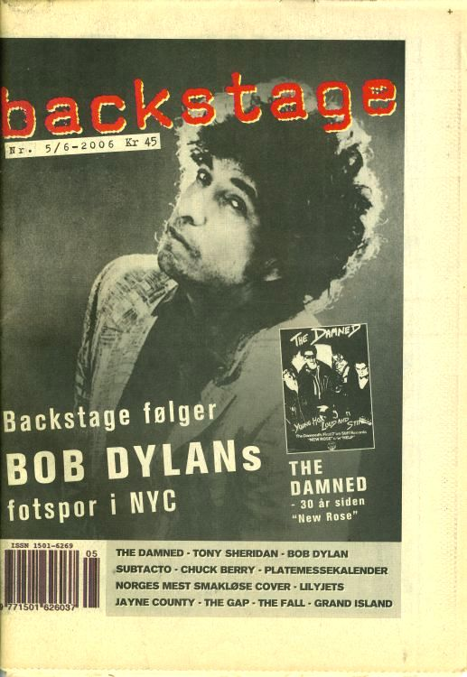 backstage norway magazine Bob Dylan cover story