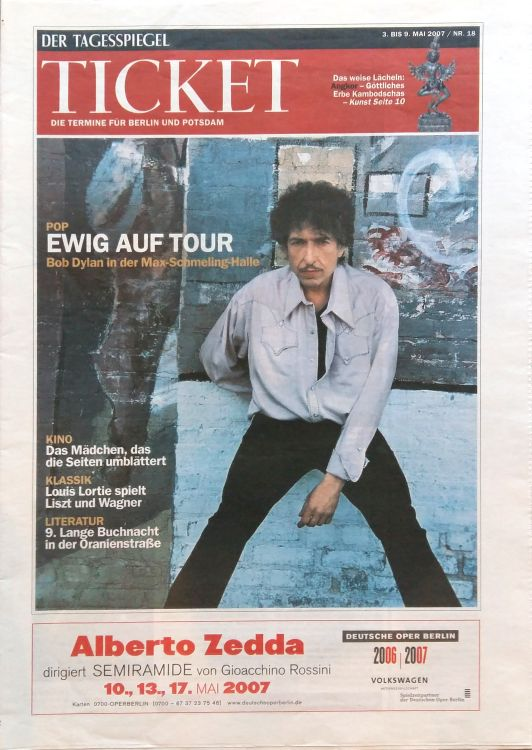 ticket germany berlin magazine Bob Dylan cover story