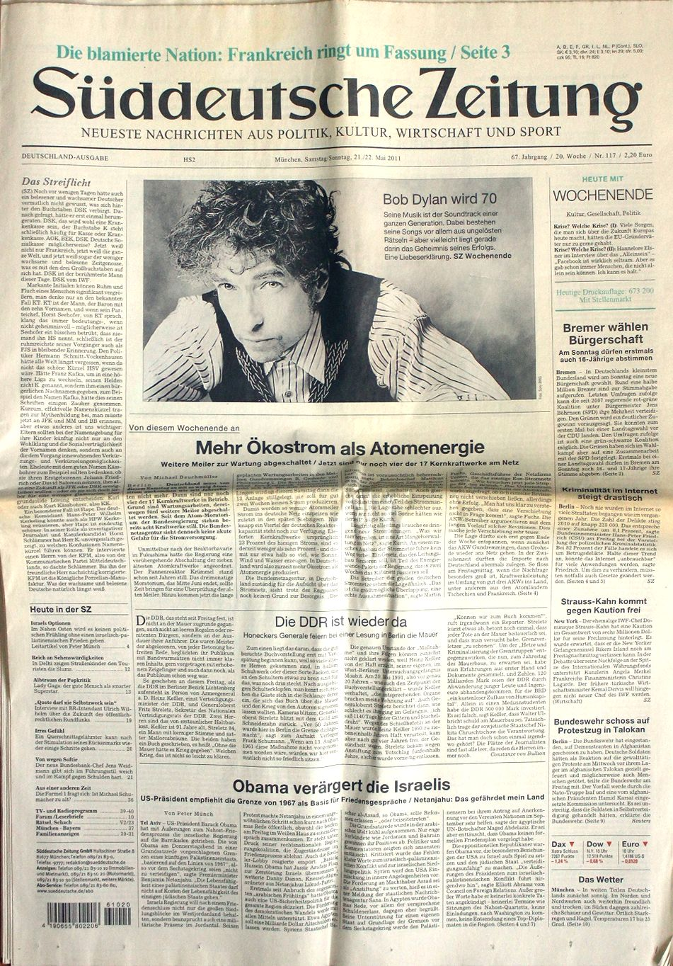 suddeutsche zeitung 21 May 2011 Bob Dylan cover story
